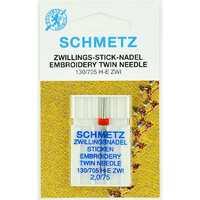 Иглы двойные вышивальные №75/2 Schmetz 130/705H-E ZWI 1 шт